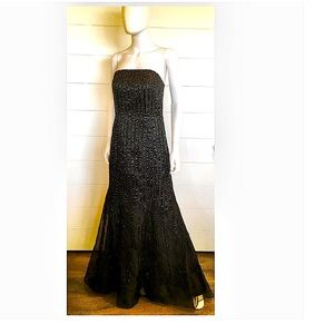 Mori Lee beaded Strapless Full Length Gown BLK 10